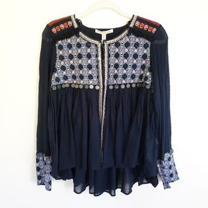 Zara Boho Flowy Embroidered Coin Jacket